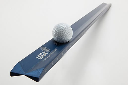 A Stimpmeter as seen at the USGA Headquaters